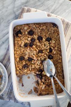Banana and Blueberry Baked Oatmeal — Soymilk + Honey Soy Milk, Baked Oatmeal, Super Natural, Blueberry, Honey, Banana, Breakfast, Recipes, Food