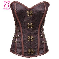 Botão de aço desossada do Espartilho gótico Espartilho Sexy Bustier Steampunk Corselet Overbust Korsett para mulheres -- You can get more details by clicking on the image.
