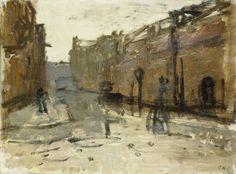 George Hendrik Breitner | De Baan in Rotterdam, George Hendrik Breitner, 1880 - 1923 | De Baan in Rotterdam bij de kruising met de Schildersteeg, gezien in zuidelijke richting.