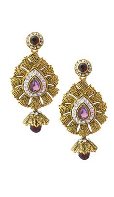 Lovely looking Exotic Purple Color Brass Gold Plated Fashion Earrings. the appealing cubic zirconia a vital characteristic. Golden Earrings, Purple Earrings, Sapphire Earrings, Stone Earrings, Women's Earrings, Stone Work, Fashion Earrings, Blue Sapphire, Bracelet Watch