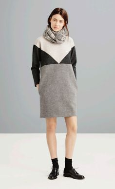 Madewell Fall 2014- Geometric off - white, charcoal, and grey sweater dress with grey plaid scarf