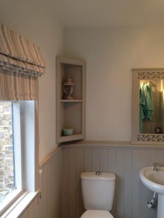Bathroom painted in F&B pavilion grey with cabbage white on the walls