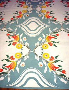 VINTAGE 1940's-50's cotton tablecloth