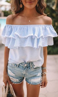 Off shoulder ruffle top #tops #ad #summerstyle