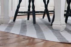 DIY Drop Cloth Rug! Perfect for under the kitchen table. When it gets dirty just throw it in the wash!