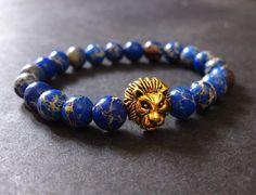 León pulsera, pulsera hombre, pulsera de las mujeres, León con cuentas pulsera, pulseras de piedras preciosas, hecho con piedra de jaspe de sedimento de mar azul profundo