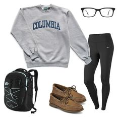 """""""Lazy preppy day"""" by steppintoprep ❤ liked on Polyvore featuring NIKE, Columbia, Sperry, Ray-Ban and The North Face"""
