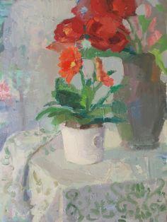 Laura Grosso 2015 oil on canvas 40x30 cm. Gerbera e tulipani