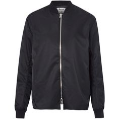 Acne Studios Black Fuel Tech Polytech Bomber Jacket ($565) ❤ liked on Polyvore featuring outerwear, jackets, black zip jacket, shiny nylon jacket, bomber jacket, black long sleeve jacket and zip jacket