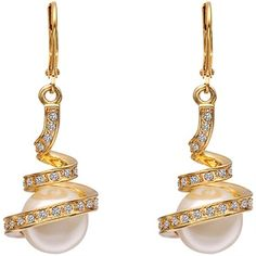 Gold Spiral Earrings With Pearl Made W& Swarovski Elements