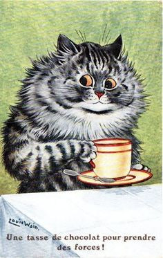 Items similar to Cat Print - Cat Art - Cat Poster - Louis Wain - Vintage Antique Reproduction - Coffee Cat on Etsy Crazy Cat Lady, Crazy Cats, I Love Cats, Cool Cats, Louis Wain Cats, Gatos Cool, Frida Art, Son Chat, Cat Coffee Mug