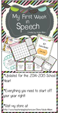 Everything you need to start your year off right! Students will know what to expect when they walk into their speech and language room. Stay organized, inform students of their goals and be prepared for school year 2014-2015!
