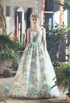 """Charlotte Balbier makes a strong case for the use of lush colors at the launch of her """"Bohemian Blush"""" bridal collection at Green Wedding Dresses, Chiffon Wedding Gowns, Beautiful Bridesmaid Dresses, Bohemian Wedding Dresses, Bridal Dresses, Floral Wedding, Botanical Wedding, Floral Dresses, Dresses Uk"""