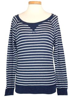 NEW Abercrombie & Fitch Womens Shirt SHANNON Top Stripe Tee Blue White Sz XS $48 #AbercrombieFitch #KnitTop #Casual