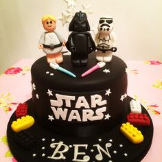 Star Wars Lego Cake. Darth Vader, Luke Skywalkers and Stormtrooper.