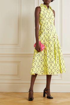 EMILIA WICKSTEAD Pleated Printed Midi Dress - We Select Dresses Vacation Dresses, Summer Dresses, Emilia Wickstead, Top Designer Brands, Fashion Advice, Pleated Skirt, Designer Dresses, Fashion Online, Menswear