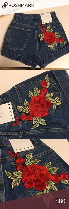 Handmade rose embroidered Jean shorts Jeans are high quality purchase wholesale from American apparel and the rose embroidery has been added by hand (: BRAND NEW Shorts Jean Shorts