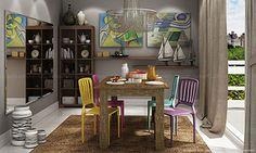 Conjunto para Sala de Jantar com Mesa, 4 Cadeiras, Estante e Prateleiras Lilás/Amarelo/Azul/Rosa/Rústico/Nobre - Caaza