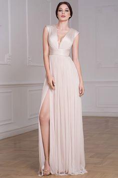 CRISTALLINI SKA761 Unusual Dresses, Beautiful Dresses, Nice Dresses, Dresses With Sleeves, Empire Silhouette, Haute Couture Dresses, Illusion Dress, Luxury Wedding Dress, Pleated Skirt