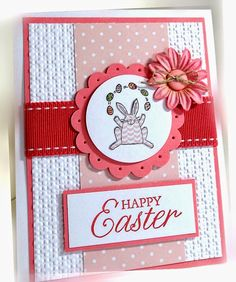 Me, My Stamps and I: Happy Easter Stamps: Tags So Much Paper: Regal Rose, Whisper White, Pink Pirouette DSP Ink:  Regal Rose, Basic Black Accessories: stitched grosgrain ribbon, paper flower, button, linen thread Tools: scallop circle punch, circle punch, Big Shot, Square Lattice EF