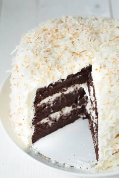Chocolate cake with coconut cream filling, marshmallow buttercream frosting and toasted coconut is the perfect cake recipe for birthdays, holidays, parties and more! This cake is packed with f (Chocolate Cream Filling) Best Birthday Cake Recipe, Cool Birthday Cakes, Frosting Recipes, Cake Recipes, Dessert Recipes, Marshmallow Buttercream, Buttercream Frosting, Marshmallow Cream, Nutella Frosting