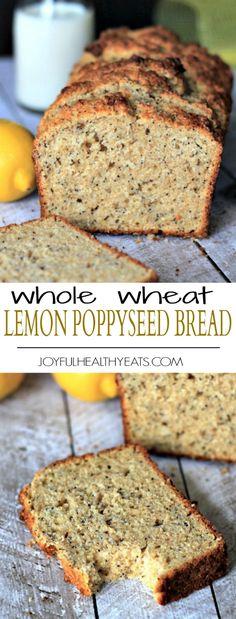 Lemony moist and naturally sweet Whole Wheat Lemon Poppyseed Bread with an extra nutrient boost from chia seeds and greek yogurt. | joyfulhealthyeats.com #recipes