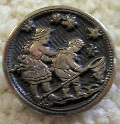 Very Scarce Children Catching Butterflies Antique French Button    ...Sold for $43.50