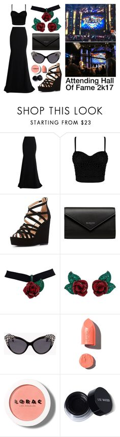 """""""Attending WWE Hall Of Fame 2k17"""" by nerd-ville ❤ liked on Polyvore featuring Roland Mouret, Charlotte Russe, Balenciaga, Atelier Swarovski, Dsquared2, PUR and LORAC"""