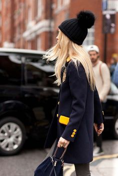 Two toned jacket with boldly colored buttons. Top this outfit with a pom topped black beenie to complete the look. Fashion DIY.