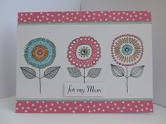 Birthday card made using Woodware Loopy flower stamp
