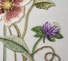 Clover instructions by Sachiko Morimoto, incorporated into the overall design by Luan Callery. Stitched by Cindy Russell with EGA-JCA summer Jacobean Embroidery, Hand Embroidery, Machine Embroidery, Clover Flower, Brazilian Embroidery, Embroidery Needles, Needlework, Diy And Crafts, Summer 2016