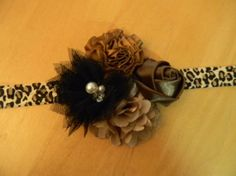 leopard shabby flower baby/toddler/adult headband by GracieDevine, $9.00