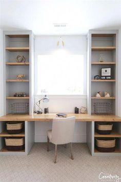 34 trendy home office corner desk diy built ins – Office Design 2020 Built In Wall Shelves, Desk Shelves, Built In Desk, Small Bookshelf, Office Shelving, Open Shelves, Office Built Ins, Black Shelves, Bookshelf Ideas