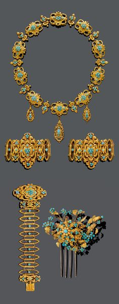 """AN ANTIQUE GOLD AND TURQUOISE PARURE, France, CIRCA 1830. Comprising a necklace, two bracelets, earrings, brooch, two rings and comb. French hallmarks, maker's mark """"PR""""."""