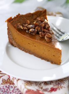 Pumpkin Pie with Praline Coconut Pecan Crust - Vegan; Free of wheat, gluten, dairy, casein, egg, corn.  Optionally free of soy. (My usual pie is based on tofu but this filling uses cashew cream.  Coconut oil in place of the vegan marg in the crust would make this entirely soy free, AND it looks delicious!