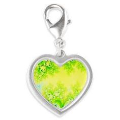 Sunny Spring Frost Fractal #Silver #Heart #Charm...#jewelry #accessories #forsale #Winter #ChristmasPresents #gifts #designer #frostcrystals #fashion #RoseSantuciSofranko #Artist4God #CafePress #yellow #green #Spring #sunny #love