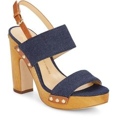Vince Camuto Signature Baker Denim Wood Platform Sandals ($105) ❤ liked on Polyvore featuring shoes, sandals, slingback sandals, wood platform sandals, platform sandals, chunky platform sandals and high heeled footwear