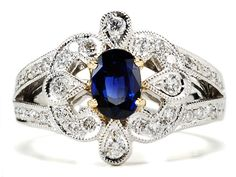 European Sapphire and Diamond Ring