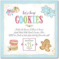 Sugary Swap - Flat Holiday Party Invitations - Lady Jae Designs - Spa - Blue : Front
