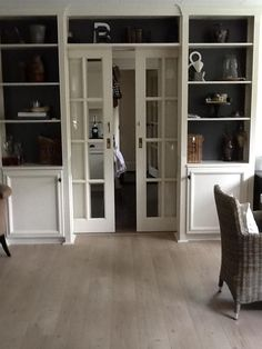 Don't love the styling on the bookcases, but the pocket French doors are a good idea to separate spaces but still allow light  #frenchdoorideas #frenchdoormakeover French Door