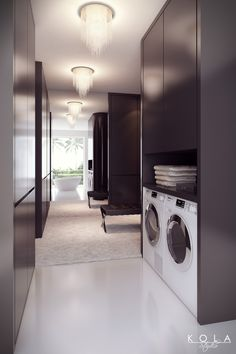 Miele washing machine presentation. An idea for a chic interior - wardrobe and laundry in a one space, design: Kola Studio