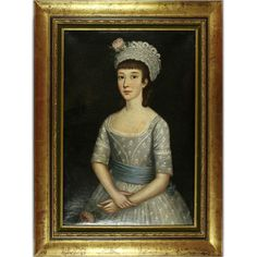 Lady in a Dress With a Blue Stripe, 18th Century, oil on canvas