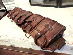 Vintage 1930s Leather Motorcycle Boot Covers Spats Oscar
