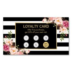 Loyalty Card Vintage Gold Floral Beauty Salon Double-Sided Standard Business Cards (Pack Of 100)