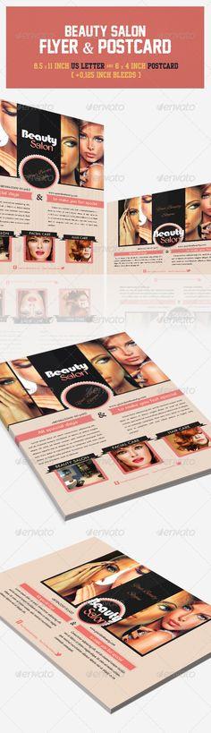 Beauty Salon Flyer & Postcard  # Postcard Template, Postcard Design, Flyer Template, Corporate Flyer, Business Flyer, Business Postcards, Beauty Makeup Photography, Leaflet Design, Creative Brochure