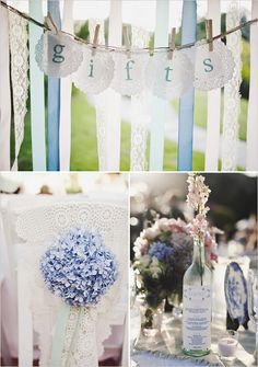 Blue hydrangeas. Menus printed on old bottles. This whole wedding is beautiful. I'd copy the whole thing!