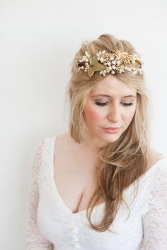 Gold Headband Vintage Hair Band Leaf By LaBelleEpoqueAntique