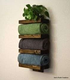 18 DIY towel storage ideas for easy bathroom organization . - 18 DIY towel storage ideas for easy bathroom organization … ideas - Bath Towel Racks, Towel Rack Bathroom, Wood Bathroom, Simple Bathroom, Bathroom Shelves, Bathroom Ideas, Modern Bathroom, Bathroom Mirrors, Bath Towel Storage
