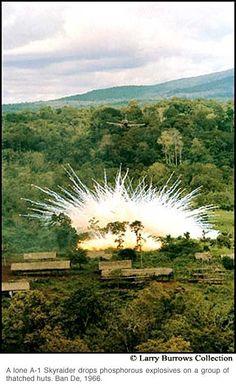 A-1 Skyraider drops phosphorous explosives. Vietnam War