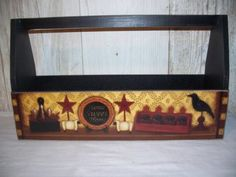 Home Sweet Home Primitive Sq. Handle Tool Box Carry All Candle Holder Planter